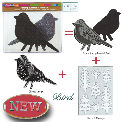 NKCFS02 Bird Foam Stamp, Cling Rubber and Stencil Set