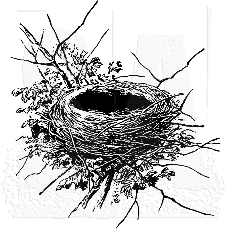 Tim Holtz Wood Mounted Stamp: Nest P1-2300