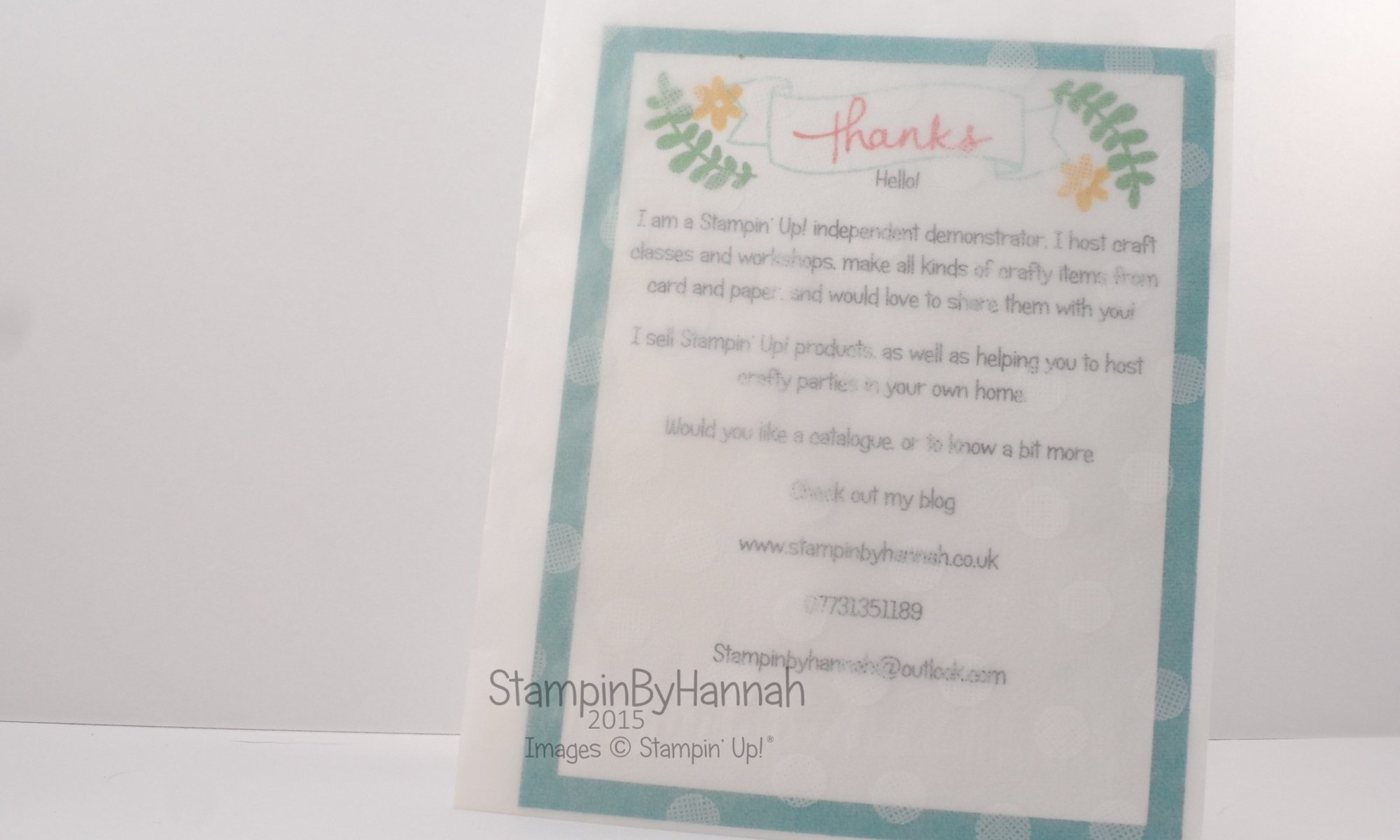 Stampin' Up! UK Business packet