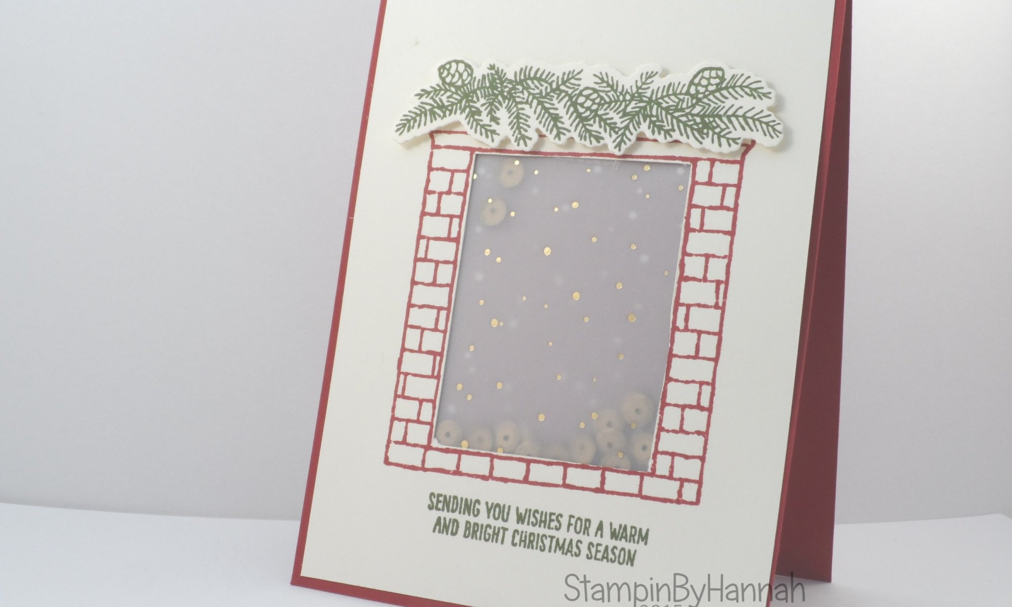 Stampin' Up! UK Festive Fireplace Shaker card