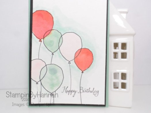 Balloon celebration birthday card using Stampin' Up! UK products