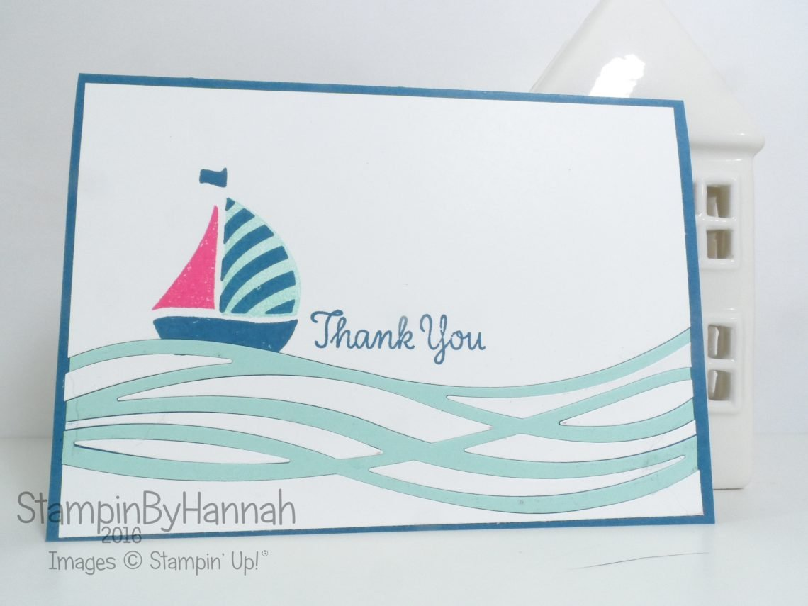Sailing Boat Thank You Card using Swirly Bird from Stampin' Up! UK