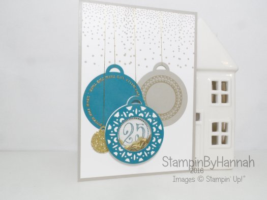 Merriest Wishes Bauble tag Christmas shaker Card using merriest wishes from Stampin' Up! UK