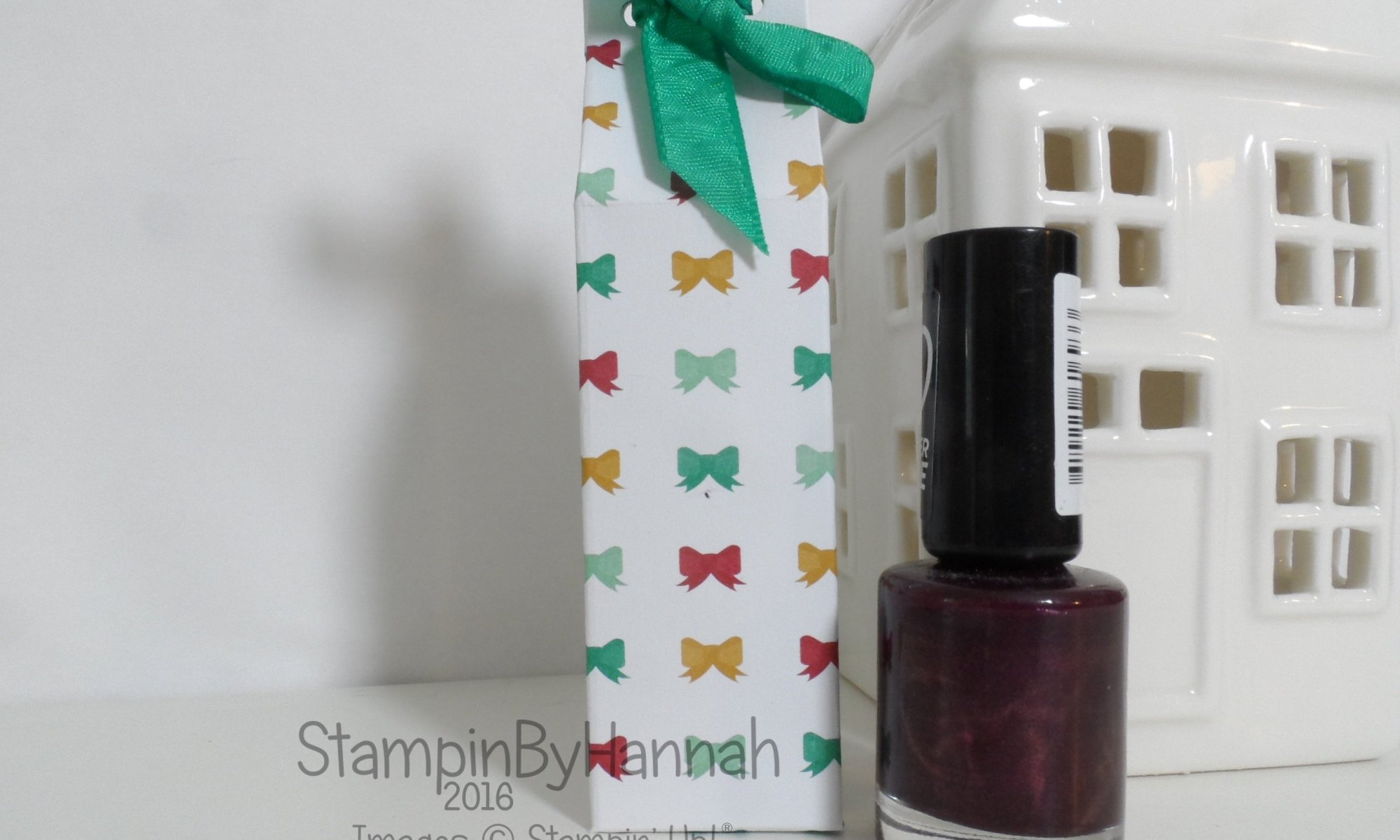 12 Days of Christmas Nail Polish gift bag using Presents and Pinecones Designer Series Paper from Stampin' Up! UK