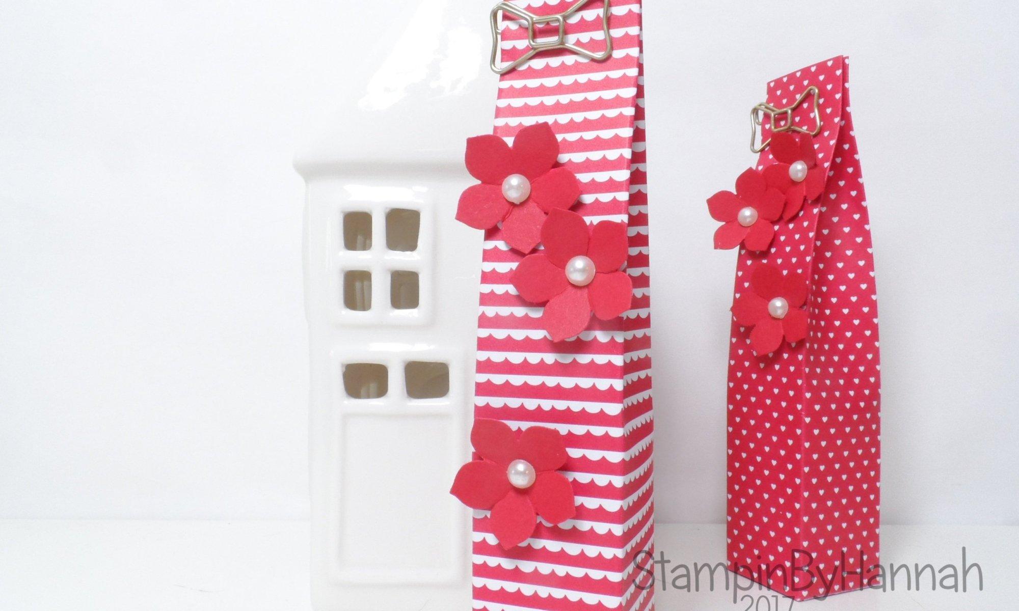 Love hearts week tall skinny gift bag using Sending Love Designer Series Paper from Stampin' Up! UK