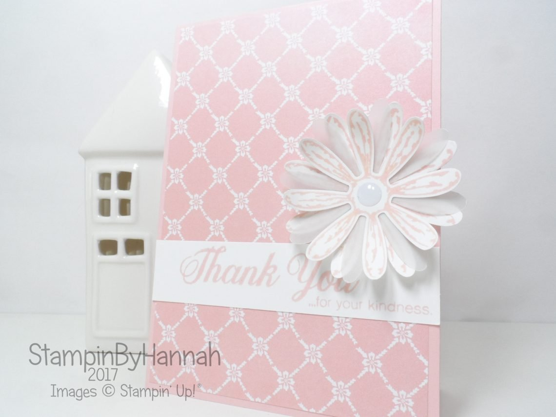 Stampin' Up! 2017 In Colour Powder Pink Designer Series Paper Delightful Daisy Thank You Card