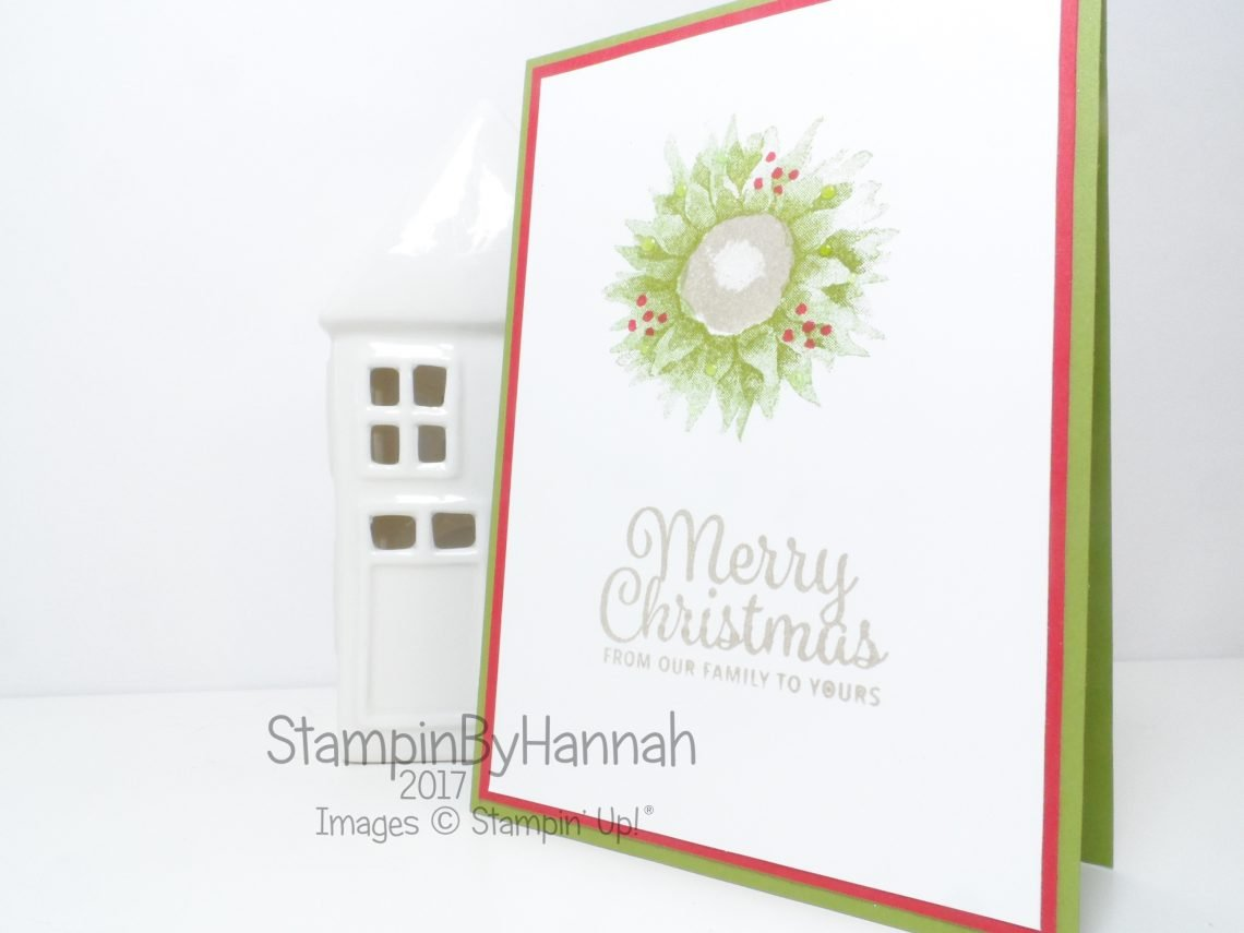 Christmas Wreath Card using Painted Harvest from Stampin' Up!