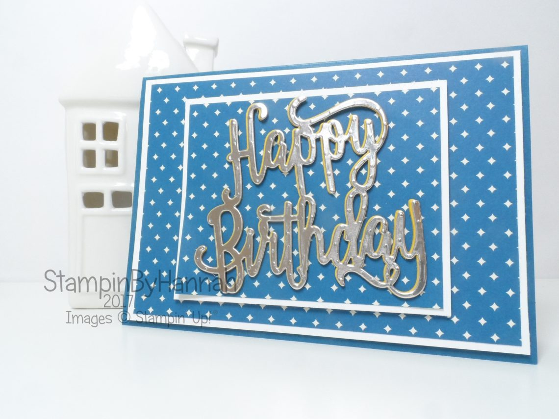 Simply Sketched Saturday Challenge Birthday Card using Happy Birthday thinlit from Stampin' Up!