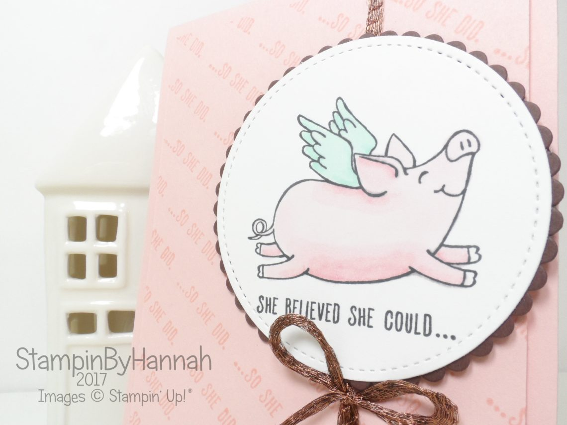 Cute Just Because Card using This Little Piggy from Stampin' Up!