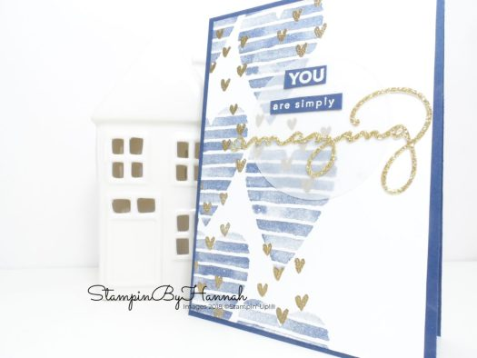 How to create a fun sparkly Valentines card using Heart Happiness and Amazing You from Stampin' Up! Sale-a-bration