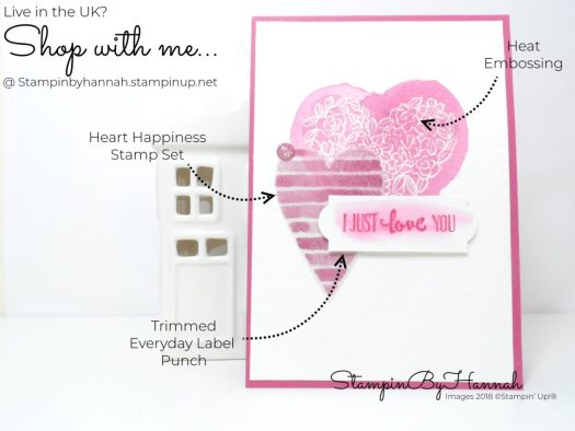 Heat embossed Valentines Card using Heart Happiness from Stampin' Up!