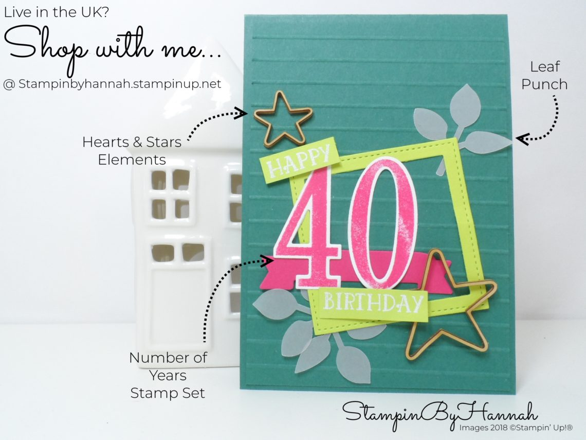 How to make a fun 40th Birthday card using Number of Years from Stampin' Up!