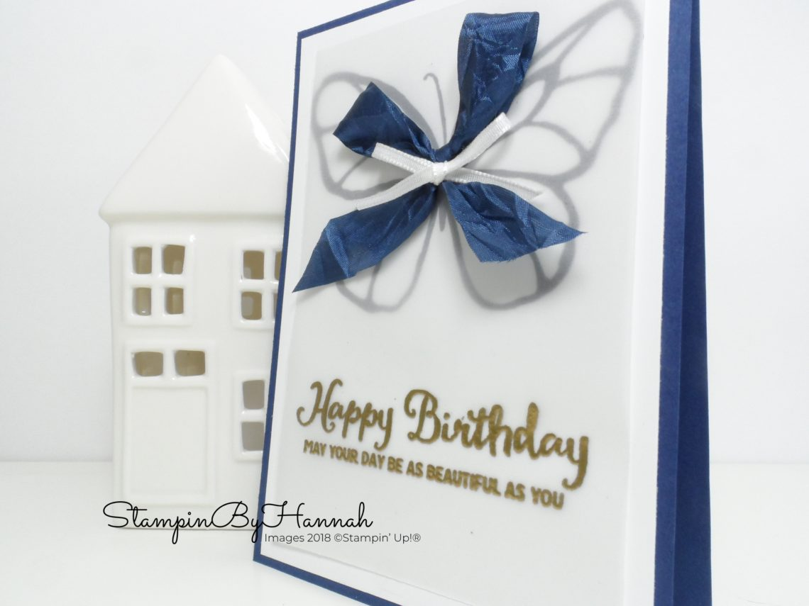 Pretty Night of Navy Birthday card using the Butterfly stamp from Beautiful Day from Stampin' Up!