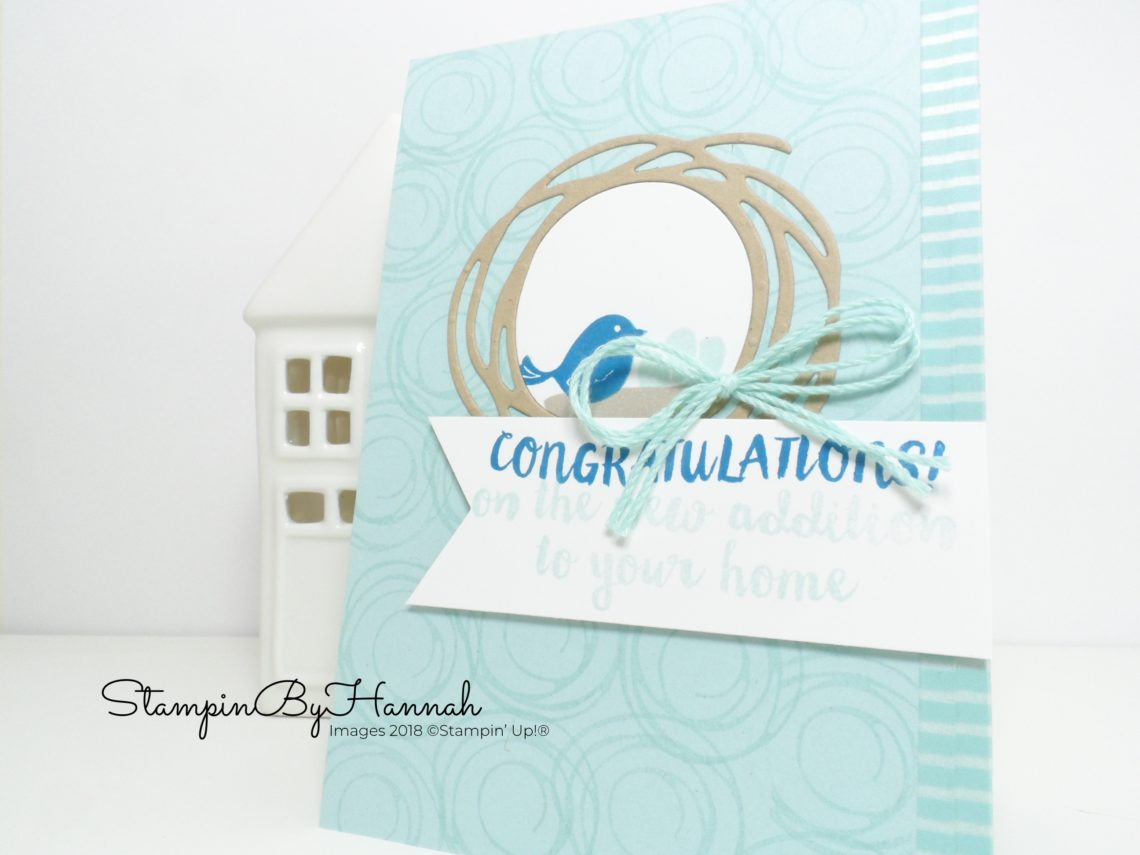 Cute little bird baby card using Swirly Bird from Stampin' Up!