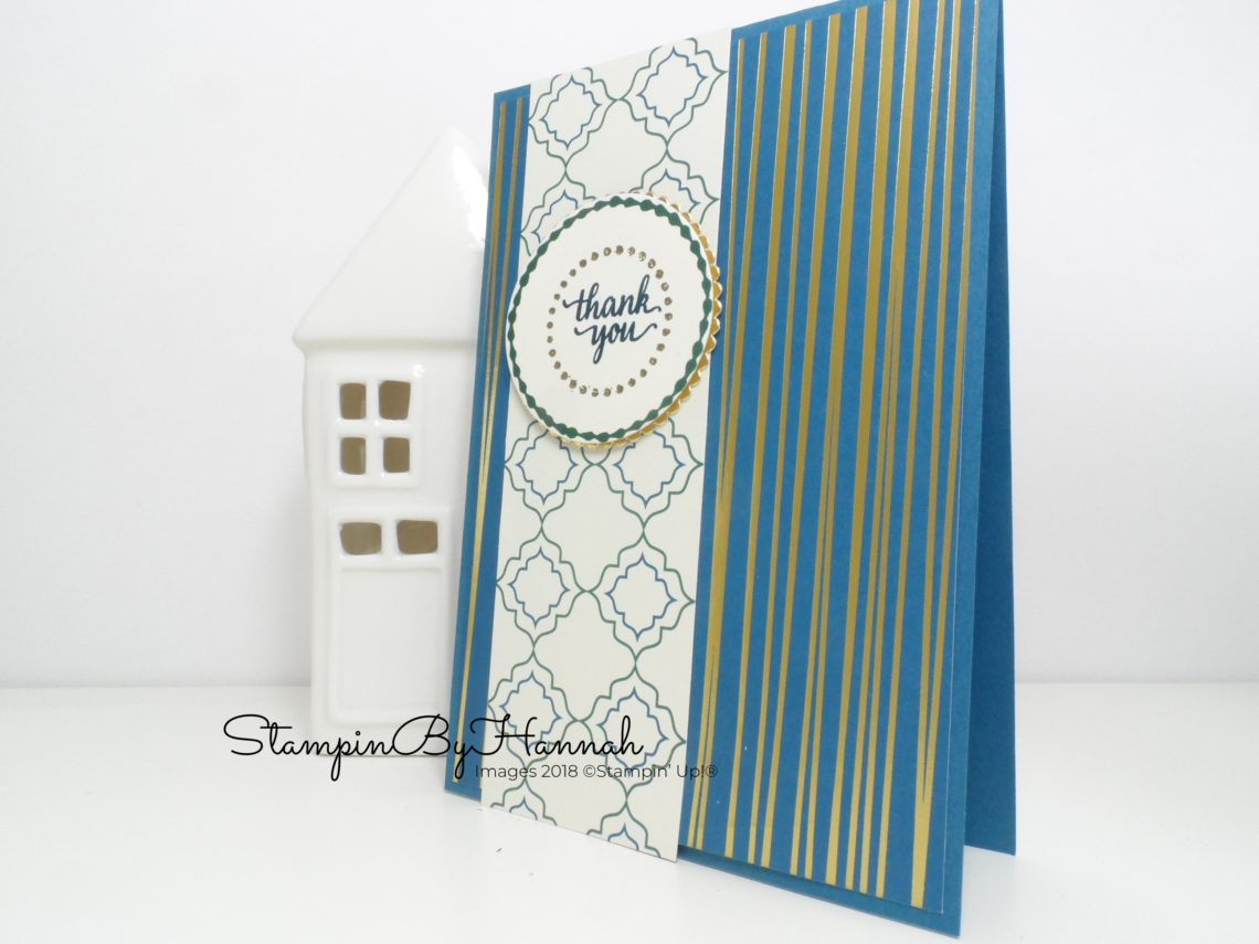 Fun Dapper Denim Thank You Card using Eastern Palace Designer Series Paper from Stampin' Up!