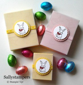 Cute Easter egg boxes with Vellum sleaves