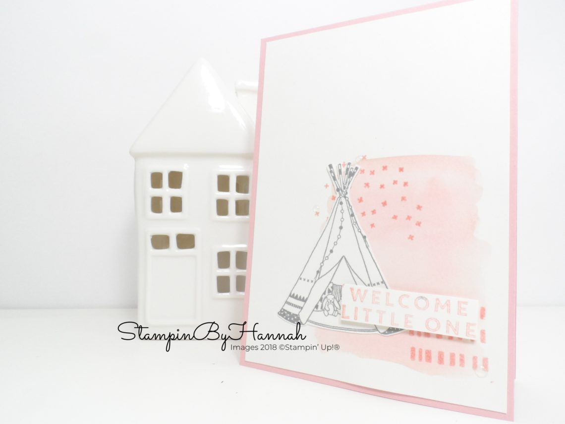 Little One Welcome Baby Card Watercolour background using Stampin' Up! products