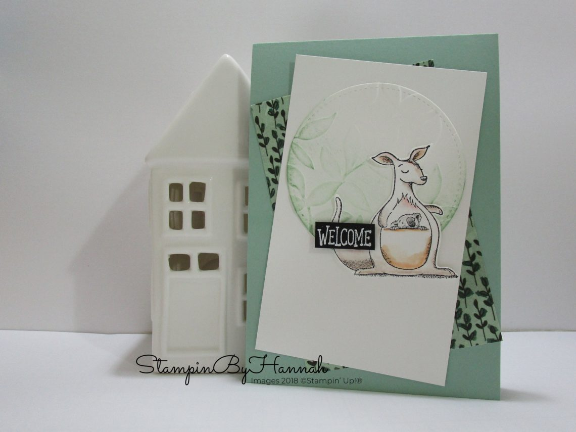 Fun Welcome card with a Kangaroo using Animal Outings from Stampin' Up!