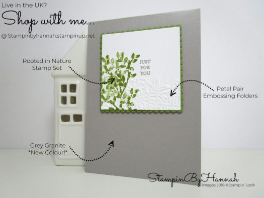 How to make a pretty delicate Just for You card with leaves and flowers using Rooted in Nature from Stampin' Up!
