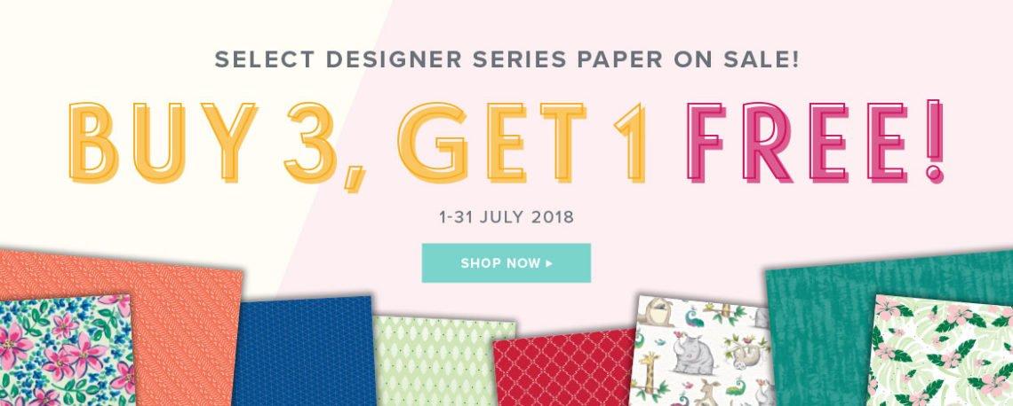 July Stampin' Up! Designer Series Paper Buy 3 Get 1 Free