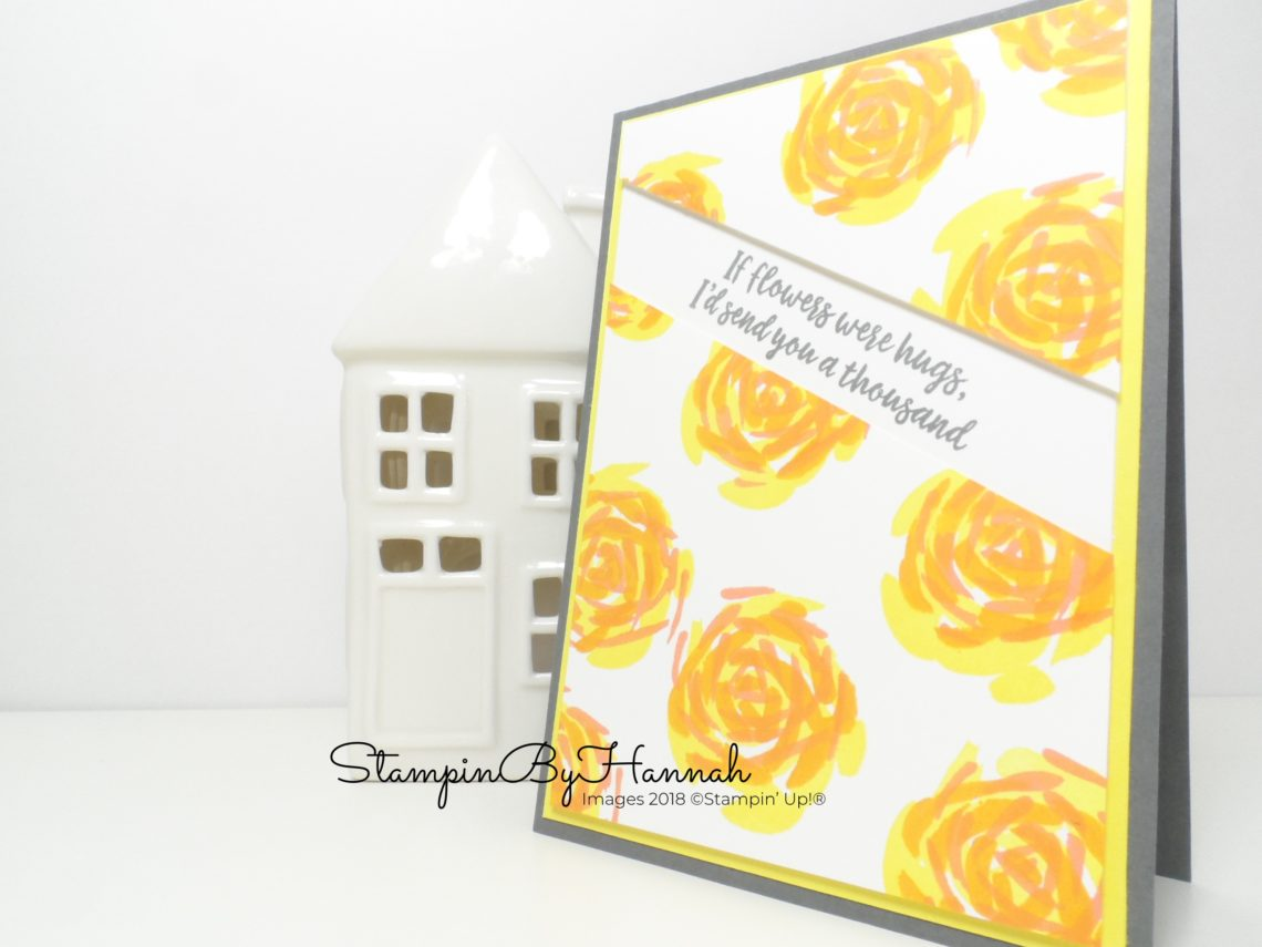 Abstract Impressions Card If Flowers Were Hugs I'd Send You Thousands using Stampin' Up! products