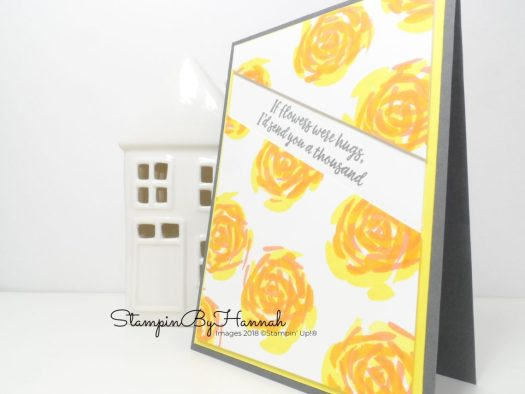 Yellow and Grey Floral Card with random stamping using Abstract Impressions from Stampin' Up!