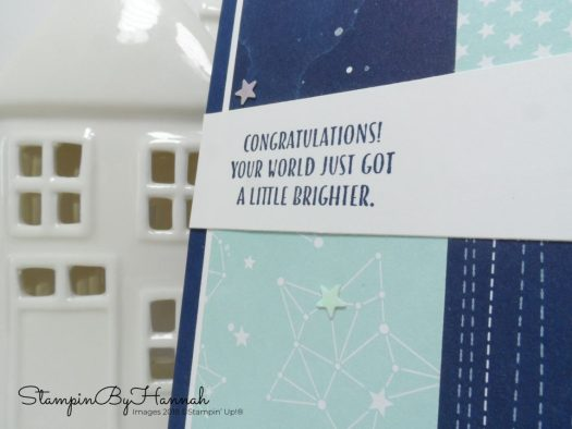 Baby boy congratulations card using Twinkle Twinkle Designer Series Paper from Stampin' Up!