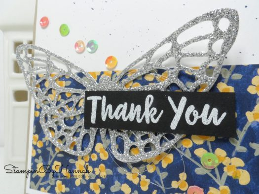 How to make a pretty sparkly thank you card using the butterfly die from Springtime Impressions from Stampin' Up!