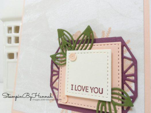 Beautiful layers I Love You card using Petal Promenade from Stampin' Up!