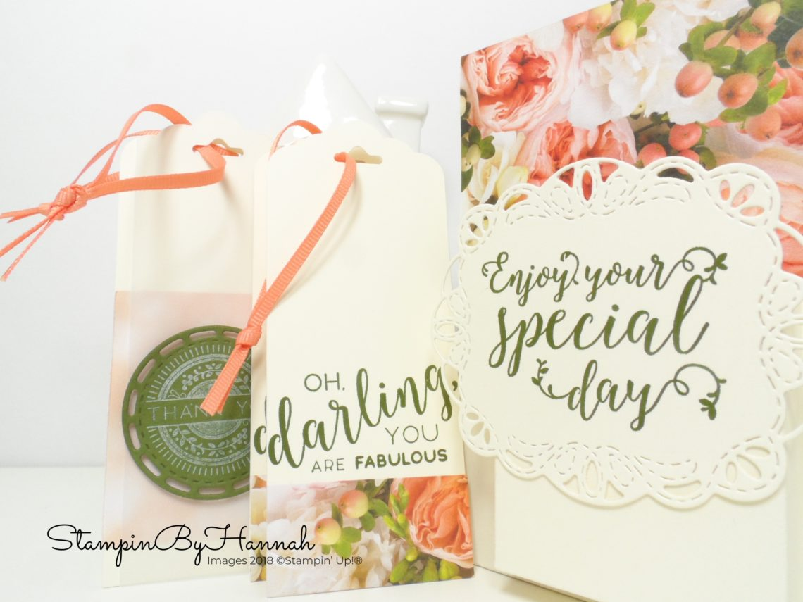 Petal Promenade Note card and Envelopes with tags gift box using Stampin' Up! products