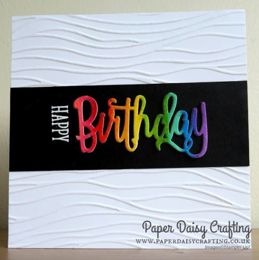 Rainbow Birthday Card using Stampin' Up! Happy Birthday Thinlit by Jill Chapman