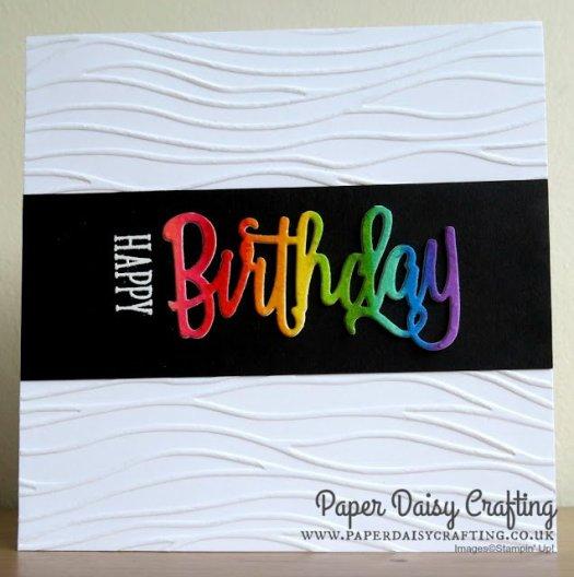 Rainbow Birthday Card using Stampin' Up! Happy Birthday Thinlit by Jill Chapman