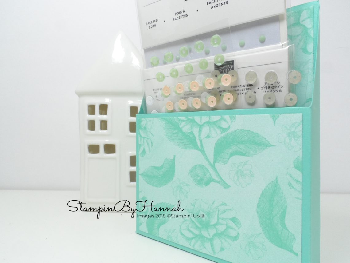 Fun storage box for card making embellishments using Time for Tea Designer Series Paper from Stampin' Up!