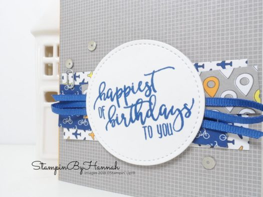 Happy Birthday boys card using Best Route Designer Series Paper from Stampin' Up!
