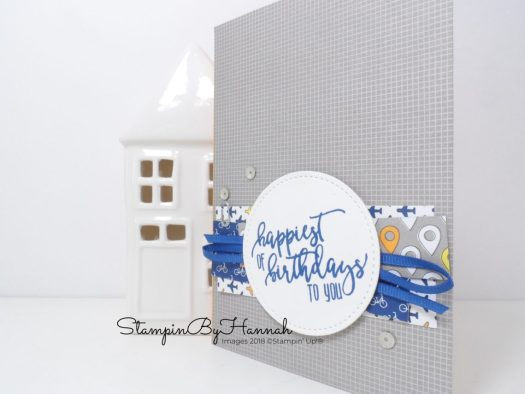 Create a fun layered mans birthday card using Best Route from Stampin' Up!