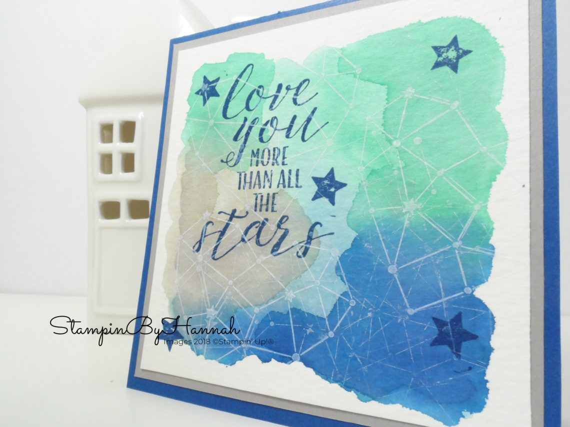How to create a fun watercolour background for your hand stamped cards using Little Twinkle from Stampin' Up!