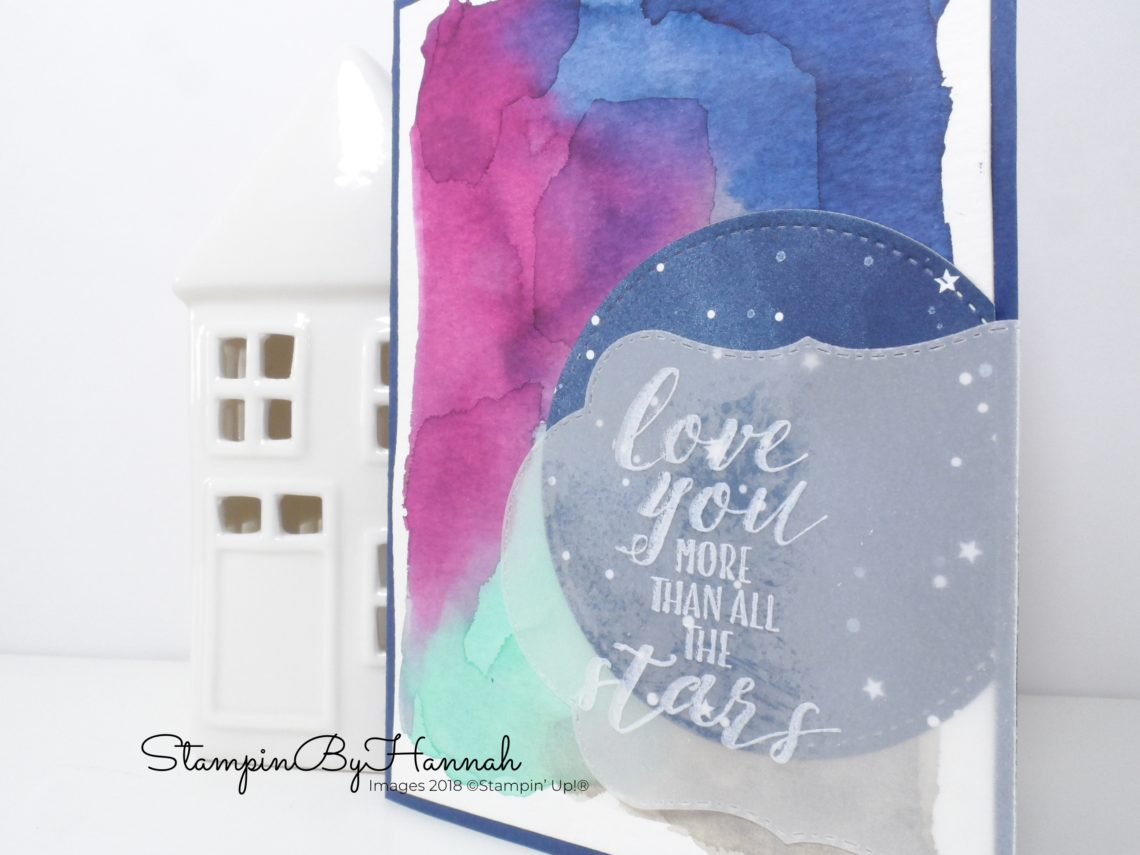 Watercolour Background Anniversary Card using Little Twinkle from Stampin' Up!