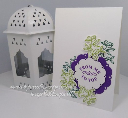 Pretty Foliage labels me to you card using Time for Tea from Stampin' Up! By Verity Purglove