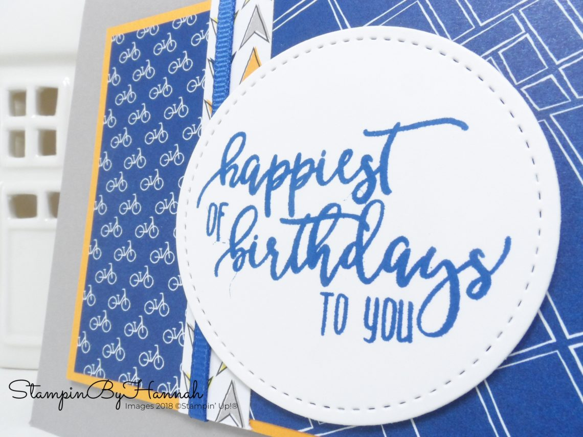 Fun Boys Birthday Card using Best Route Designer Series paper from Stampin' Up!