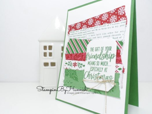 Fun Christmas Card using Patterned Paper with Dashing Along DSP from Stampin' Up!