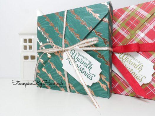Christmas Countdown Giant Tealight Envelope Punch Board Box using Stampin' Up! Designer Series Paper