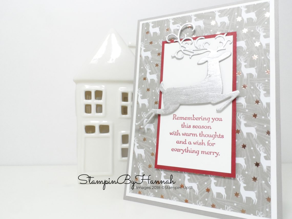 How to make a fun Shimmery Christmas card using Dashing Deer from Stampin' Up!