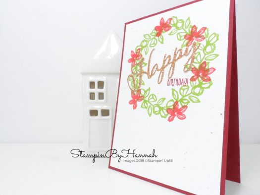 How to make a fun wreath Birthday Card using Petal Palette from Stampin' Up! with StampinByHannah
