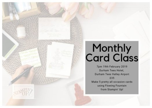 Flowing Fountain Monthly Card Class Advert