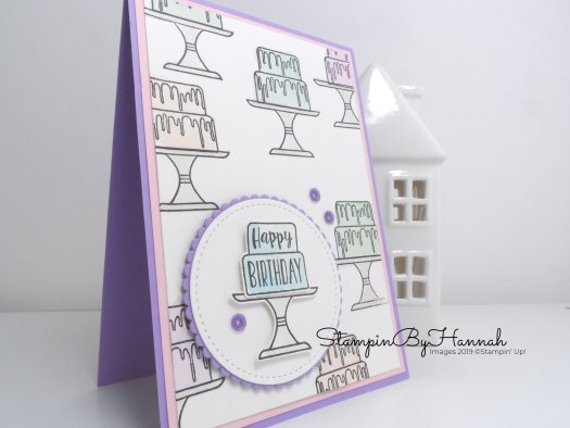 Piece of Cake Happy Birthday Card using Stampin' Up! Supplies for StampinByHannah's Code Club Class May 2019