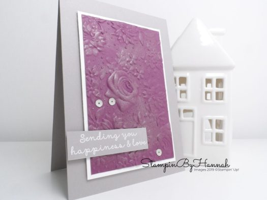 Sale-a-bration Happiness Card using Country Floral Embossing Folder from Stampin' Up! with StampinByHannah
