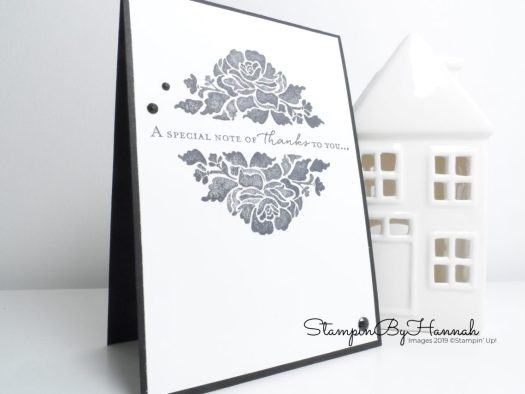 Classic stamped Thank You card using Floral Phrases from Stampin' Up! with StampinByHannah for Inspire.Create.Challenge