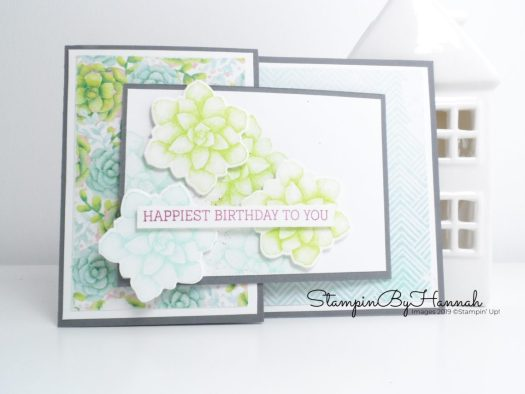 Joy Fold birthday card using Designer Series Paper from Stampin' Up! with StampinByHannah