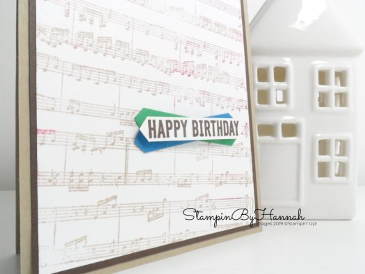 Birthday card using the Sheet Music Background Stamp from Stampin' Up! and Itty Bitty Birthdays with StampinByHannah