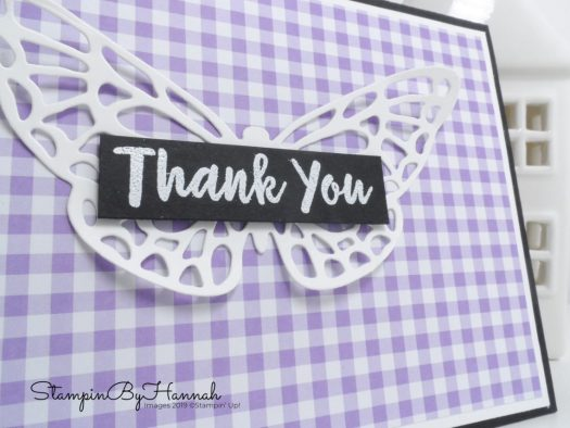 Thank You Butterfly Die Cut Card using Springtime Impressions and Abstract Impressions from Stampin' Up! with StampinByHannah